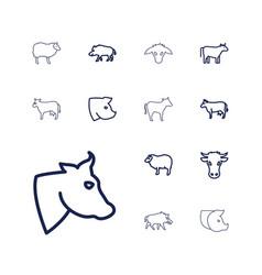 13 livestock icons vector