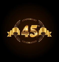 45 years anniversary celebration logotype golden vector image