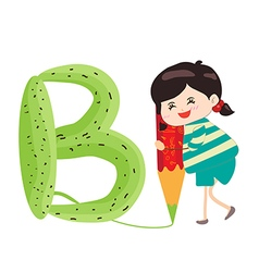 A Kid Leaning on a Letter B vector