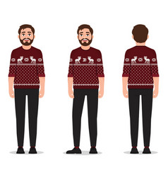a man dressed in a red sweater with deer standing vector image