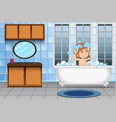 a man taking a bath vector image