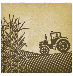 Agricultural work in corn field vintage background vector
