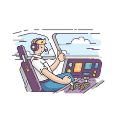 airplane pilot in cockpit vector image