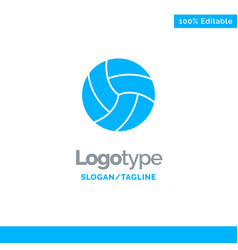 ball volley volleyball sport blue solid logo vector image
