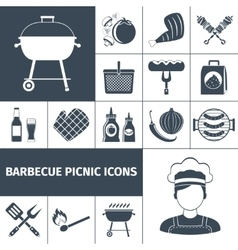 Barbecue picnic black icons set vector image