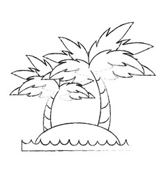 beach and palms vector image