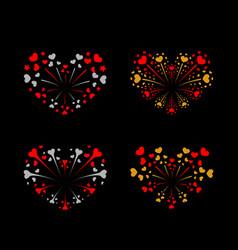 beautiful heart-fireworks set bright romantic vector image