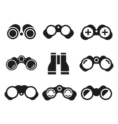 Binocular icons black set vector