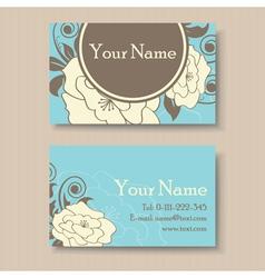 Blue floral visit card vector