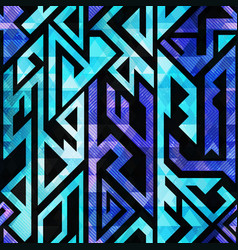 blue tribal geometric seamless pattern vector image