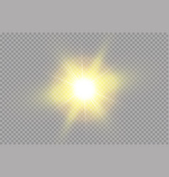 Bright shining sun isolated on transparent vector
