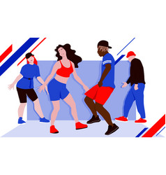 Bright with hip hop dancers vector