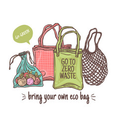 bring your own eco cloth bag vector image