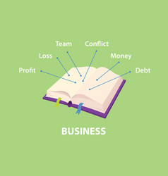 Business handbooks with explain vector