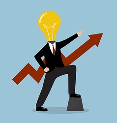 Businessman with a light bulb head and graph up vector
