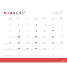 calendar planner 2017 august week starts sunday vector image