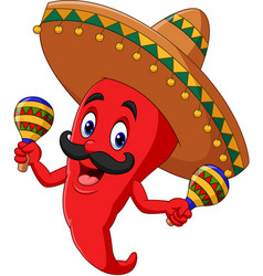 Cartoon chili pepper playing maracas vector