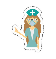 cartoon female nurse mask medical glasses vector image