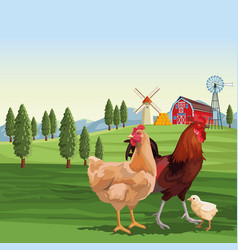 Chickens and roaster over landscape vector