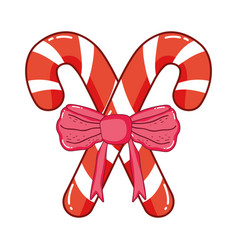 christmas sweet cane with bown vector image