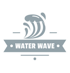 Clean wave water logo simple gray style vector