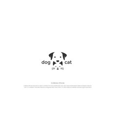 clever negative space cute happy dog and cat face vector image