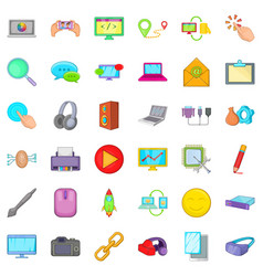 Computer part icons set cartoon style vector