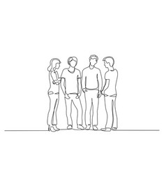 Continuous one line drawing group teenager vector