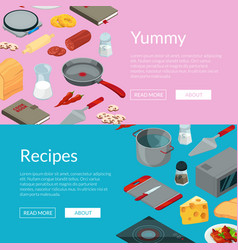 cooking food isometric objects banners vector image