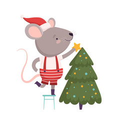 Cute mouse in santa hat decorating christmas tree vector