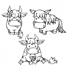 cute small cows and horse vector image
