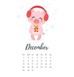 December 2019 year calendar page vector