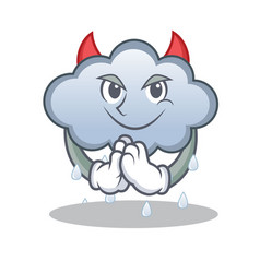 devil rain cloud character cartoon vector image