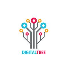 digital tree logo design computer network sign vector image