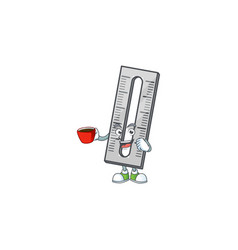 Drinking in cup gray rullers in cartoon vector