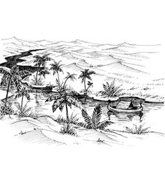 Egypt landscape hand drawing boat on nile river vector