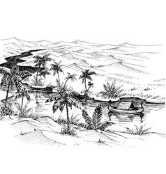 egypt landscape hand drawing boat on nile river vector image