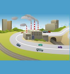 Factories plants cars highway vector