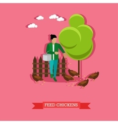 Farmer feeds the chickens flat design vector image