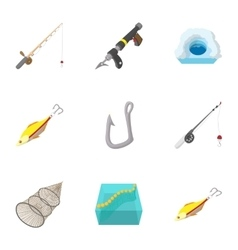Fishing sport icons set cartoon style vector