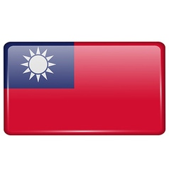 Flags Taiwan in the form of a magnet on vector