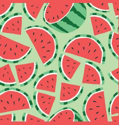 fruit seamless pattern watermelon on light green vector image