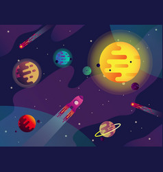 galaxy or cosmos sun planets spaceship comets vector image