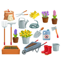 Gardening tools and flowers vector