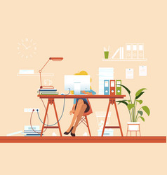 girl busy at workplace with pile papers vector image