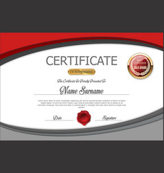 gray and red certificate template vector image