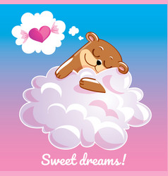 greeting card with a cartoon bear on the cloud vector image