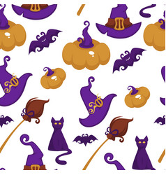 halloween holiday symbols autumn event seamless vector image