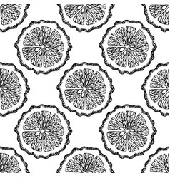 hand drawn seamless pattern with bergamot slices vector image