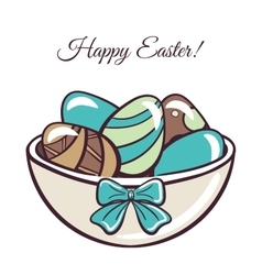 Happy easter day colored eggs vector